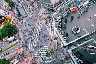 上から見た渋谷スクランブル交差点の写真・画像素材[1208968]