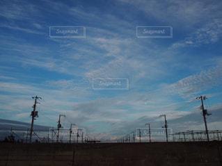 電線たちと夕方の空の写真・画像素材[1210216]