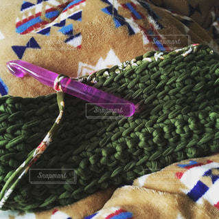 編み物をしての写真・画像素材[1210691]