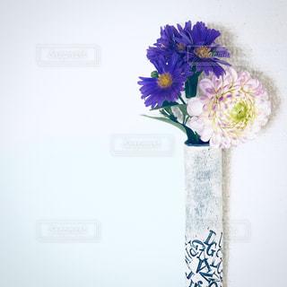 白と黄色の花で一杯の花瓶の写真・画像素材[1388309]