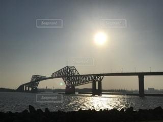 夕陽のゲートブリッジの写真・画像素材[1218018]