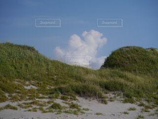 砂浜から見上げた入道雲の写真・画像素材[1223943]
