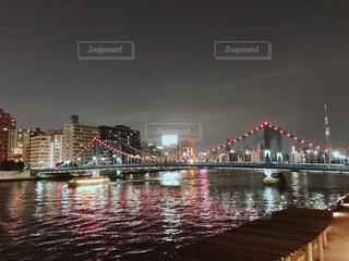 清洲橋のライトアップの写真・画像素材[1238819]