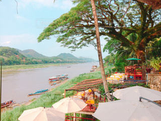 ルアンパバーン・メコン川沿いのカフェの写真・画像素材[1239750]