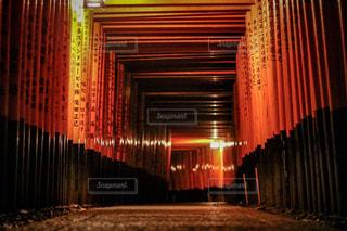 夜にライトアップされた鳥居の写真・画像素材[2509862]