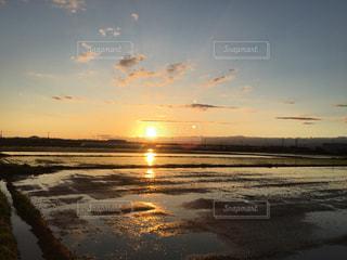 水の体に沈む夕日の写真・画像素材[1241907]