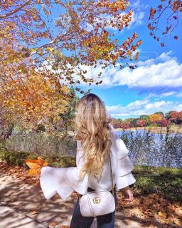 木の隣に立っている女の子の写真・画像素材[1228824]