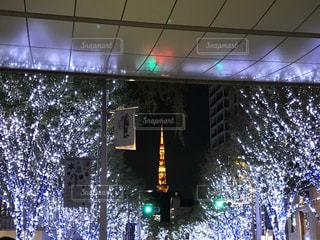 六本木ヒルズからの景色です。冬のイルミネーションと東京タワー🗼 - No.1235326