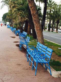 カンヌの海辺 散歩道に続く青いベンチの写真・画像素材[1396534]