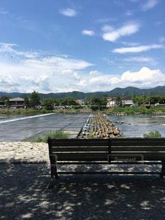 水の体の前で座っている木製の公園のベンチの写真・画像素材[1242496]