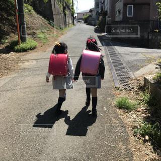 双子手を繋いで登校の写真・画像素材[1242523]