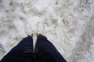 残雪の上を歩くの写真・画像素材[1338984]