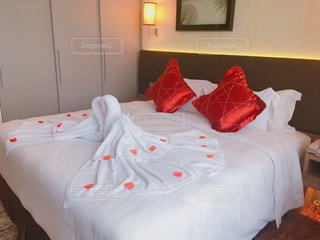ベッドの写真・画像素材[1701757]