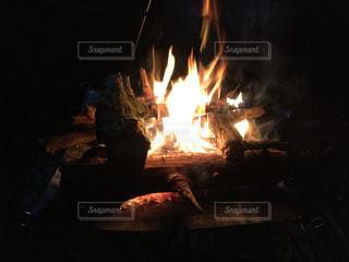 夜の焚き火の写真・画像素材[1256756]