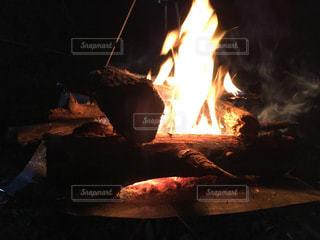 暗闇の焚き火の写真・画像素材[1258749]