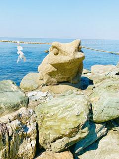 二見興玉神社のカエルのオブジェの写真・画像素材[2133856]