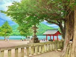 赤城神社から見える大沼の写真・画像素材[3555209]