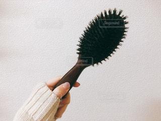 毛のブラシを持っている手の写真・画像素材[1789136]
