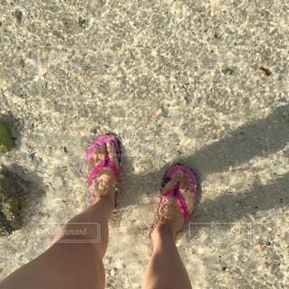 ピンクのサンダルと透明な水の写真・画像素材[1266535]