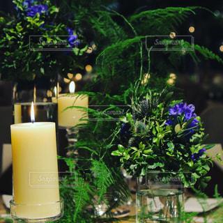 テーブルの上の花の花瓶の写真・画像素材[1866930]