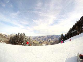 雪の上にスキーに乗っている人のグループ対象斜面の写真・画像素材[1280690]