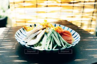 テーブルの上に食べ物のプレートの写真・画像素材[1283819]
