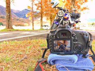 カメラに映るバイクの写真・画像素材[1285140]