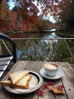 池の上のテラスでランチをしながら紅葉狩りの写真・画像素材[1585238]