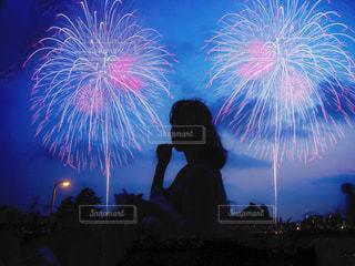 夜空の花火の写真・画像素材[1365391]