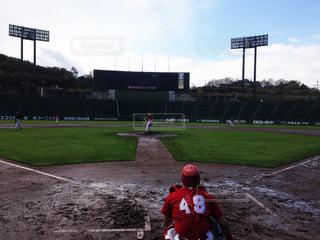 野球場で草野球の写真・画像素材[1846284]