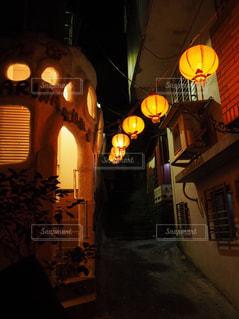 台湾・九份の路地裏のライトアップの写真・画像素材[1742107]