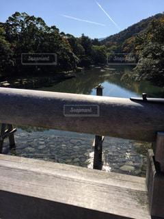 水の体の横に木製のベンチの写真・画像素材[1313880]