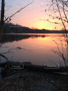 湖に沈み夕日の写真・画像素材[1325079]