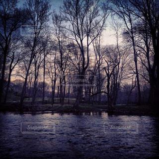 夕暮れの川の写真・画像素材[1325102]