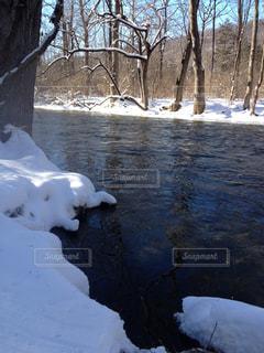 雪と川、冬の釣りの写真・画像素材[1326312]