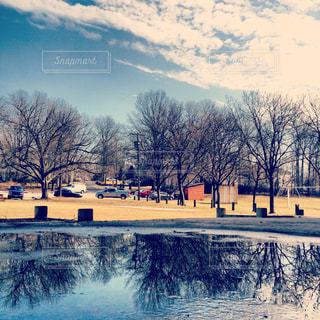 池と青空の写真・画像素材[1328037]