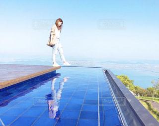 琵琶湖と私の写真・画像素材[1296349]
