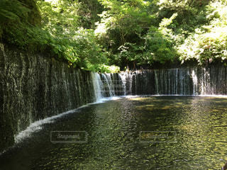 水の体の上の大きな滝軽井沢 白糸の滝の写真・画像素材[1306147]