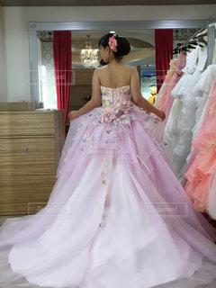 ドレスを着てポーズをとる娘の写真・画像素材[2078890]