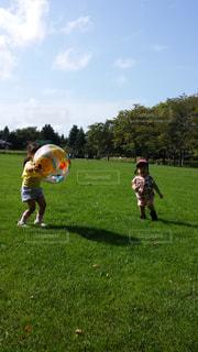 公園で遊ぶ姉妹の写真・画像素材[1305981]