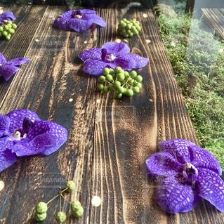 紫の花をあしらったテーブルの写真・画像素材[1308088]