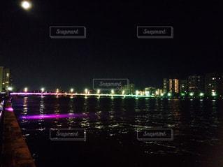 新潟市 橋に綺麗な電飾の写真・画像素材[1313486]