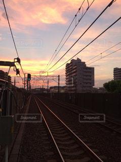 鋼のトラックの列車の写真・画像素材[1394443]