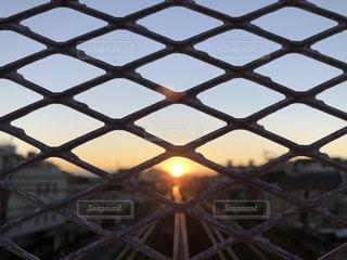 金網越しの夕日の写真・画像素材[1687741]