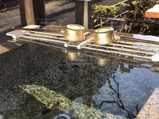 朝日で輝く手水舎の写真・画像素材[1699524]