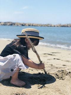砂浜でお絵かき♡の写真・画像素材[2510775]