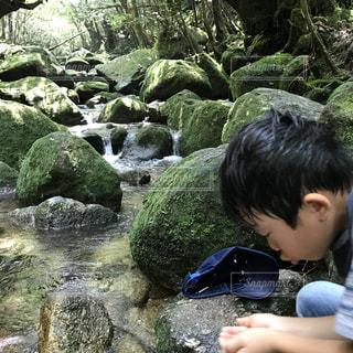 白谷雲水峡で水を飲む少年の写真・画像素材[1388015]