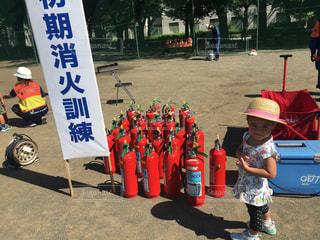 市の防災訓練。消火訓練体験の写真・画像素材[1415026]