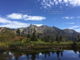 背景の山と水体の写真・画像素材[1674107]