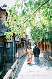 祇園で和装前撮りの写真・画像素材[1391033]